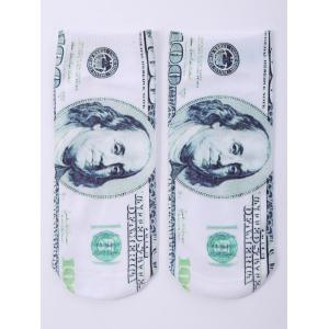 One Side 3D US Dollar Printed Crazy Ankle Socks - White