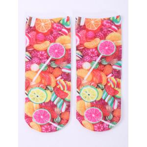 One Side 3D Fruit Candy Printed Crazy Ankle Socks - Colorful