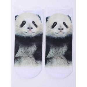 One Side 3D Panda Baby Printed Crazy Ankle Socks - White