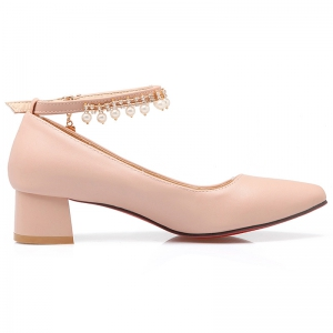 Faux Pearls Rhinestones Pumps - PINK 39