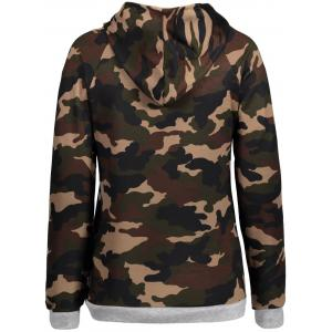 Camo Imprimer Drawstring Zipper Hoodie - Camouflage 2XL
