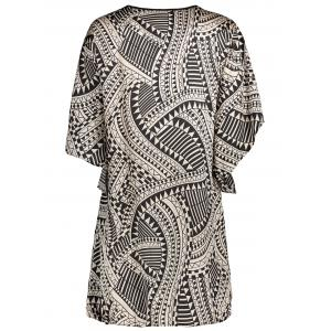 Button Up Geo Print Chiffon Dress - COLORMIX XS