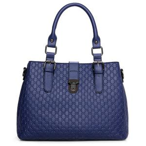 Textured Faux Leather Buckle Straps Handbag - Blue