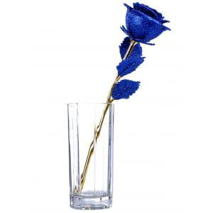 Wedding Decor Gold Plated Rose Flower with Gift Box - BLUE