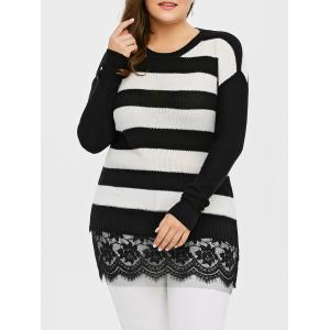 Plus Size Striped Lace Insert Knit Sweater - Black - 4xl
