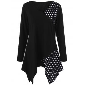 Plus Size Polka Dot Trim Asymmetrical Long Sleeve T-Shirt - Black - 4xl