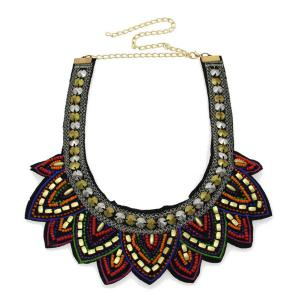 Beaded Flower Bib Necklace