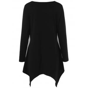 Plus Size Polka Dot Trim Asymmetrical Long Sleeve T-Shirt - BLACK XL