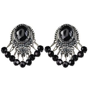 Faux Gem Beads Drop Earrings - Black