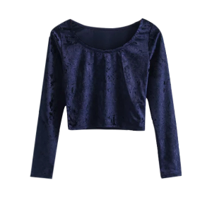 Velvet Scoop Neck Crop Top