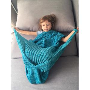 Spiral Algae Shape Crochet Knit Mermaid Blanket Throw For Kids - OCEAN BLUE