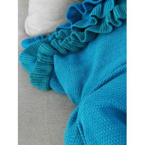 Ruffles Embellished Knit Mermaid Blanket Throw For Kids - BLUE