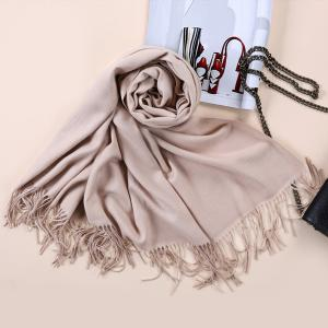 Faux Cashmere Blanket Pashmina with Fringed Edge - Khaki - M