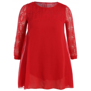 Plus Size Lace Panel Smock Blouse