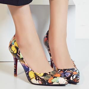Butterfly Printed Pointed Toe Pumps - COLORMIX 38