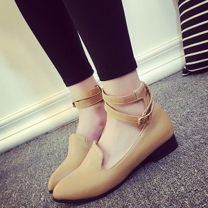 Pointed Toe Ankle Strap Flat Shoes -