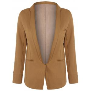 Long Front Pockets Blazer - Brown - M