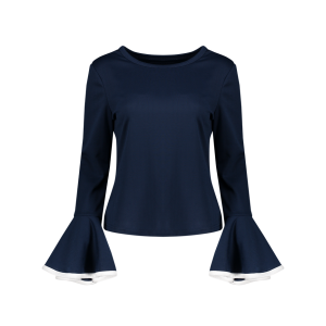 Color Block Bell Sleeve Blouse