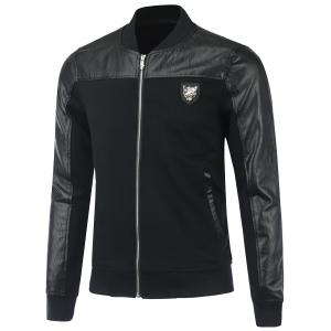 Full Zip Faux Leather Panel Jacket