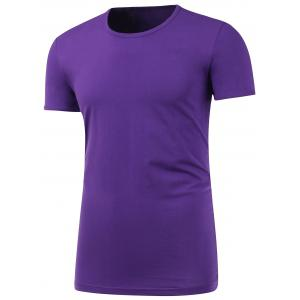 Short Sleeve Plain Round Neck T Shirt - Purple - 4xl