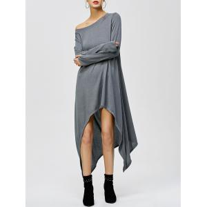 Tea Length Long Sleeve High Low Casual T Shirt Dress