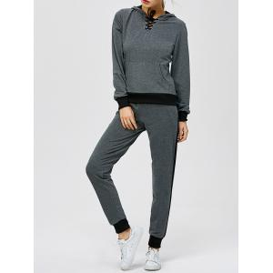 Criss-Cross Hooded Sweat Jogging Suit