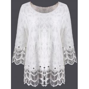 Lace Hollow Out Long Sleeve Cover Up