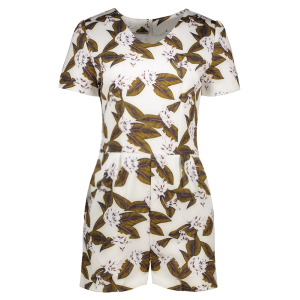 Culotte Short Sleeve Floral Leaf Romper - Brown - S