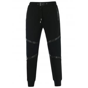 Faux Leather Panel Drawstring Jogger Pants - Black - Xl