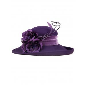 Feather Flower Strappy Embellished Church Hat