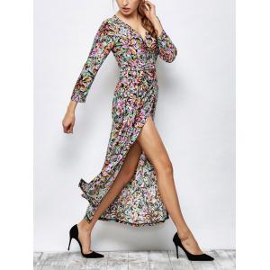 Long Sleeve Floral Patterned Maxi Wrap Dress - Multicolor - S