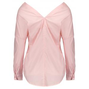Off The Shoulder boutonné Shirt - Rose Pâle L