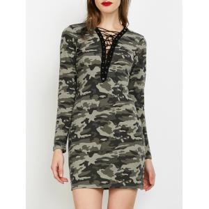 Camo Plunge Long Sleeve Lace-Up Dress