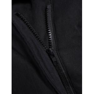 Zip Shearling Panel Cropped Padded Jacket - BLACK ONE SIZE