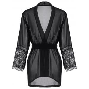Long Sleeve Lace Panel Sheer Wrap Robe - BLACK S
