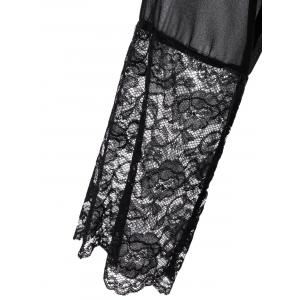 Long Sleeve Lace Panel Sheer Wrap Robe -