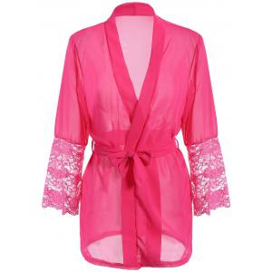 Long Sleeve Lace Panel Sheer Wrap Robe - Hot Pink - Xl