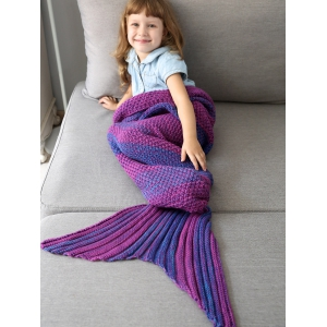 Winter Thicken Lengthen Color Block Sleeping Bag Wrap Kids Mermaid Blanket -
