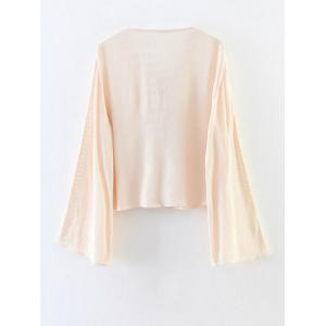 Chiffon Lace-Up Blouse - APRICOT L