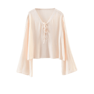 Chiffon Lace-Up Blouse - APRICOT M