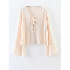 Chiffon Lace-Up Blouse - Apricot - S