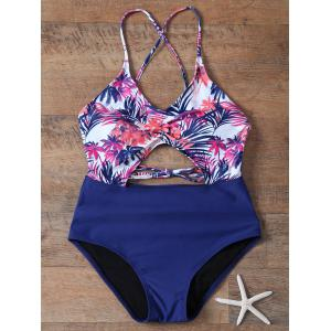 High Waisted Cut Out Printed One-Piece Swimwear -