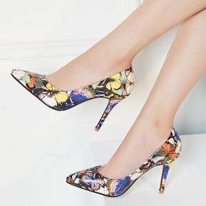Butterfly Printed Pointed Toe Pumps -