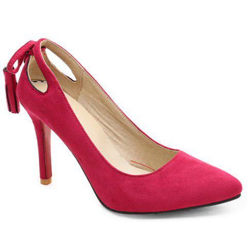 Buy Hollow Pointed Toe Pumps - Rose Red 37