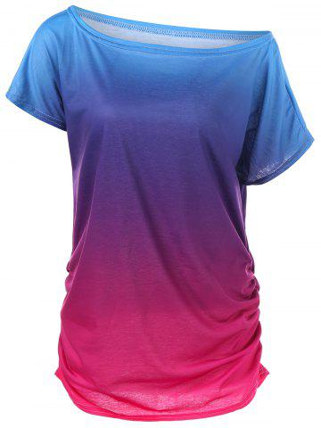 Cheap Ombre Ruched Skew Neck T-Shirt