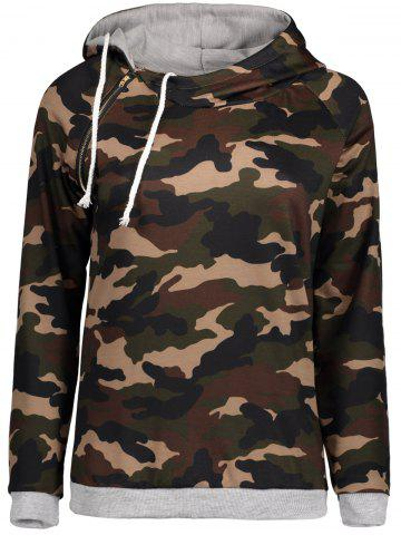 Camo Imprimer Drawstring Zipper Hoodie Camouflage 2XL