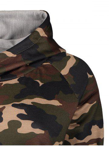Affordable Camo Print Drawstring Zipper Hoodie - 2XL CAMOUFLAGE Mobile