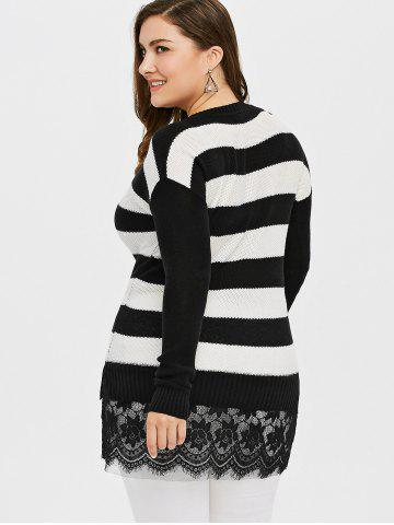 Affordable Plus Size Striped Lace Insert Knit Sweater - 4XL BLACK Mobile