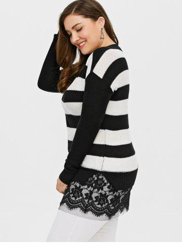 Discount Plus Size Striped Lace Insert Knit Sweater - 4XL BLACK Mobile
