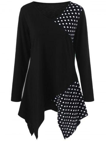 Trendy Plus Size Polka Dot Trim Asymmetrical Long Sleeve T-Shirt BLACK XL